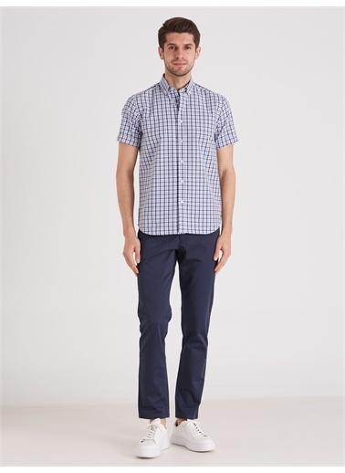 Dufy Kare Desen Erkek Gömlek - Regular Fit Mavi